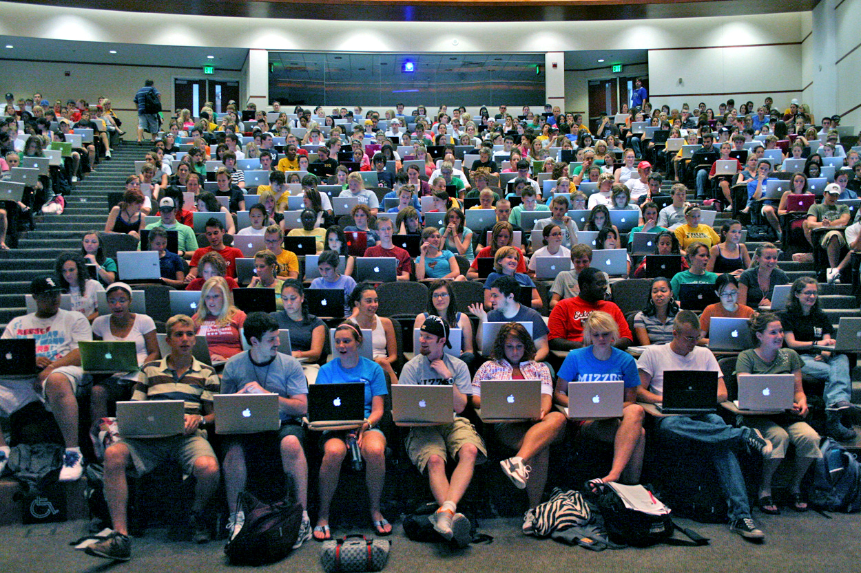 students laptops lecture