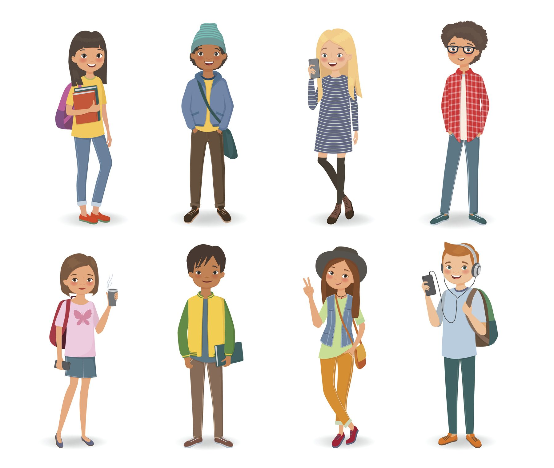 Group of international students with books, phones and backpacks. Vector illustration
