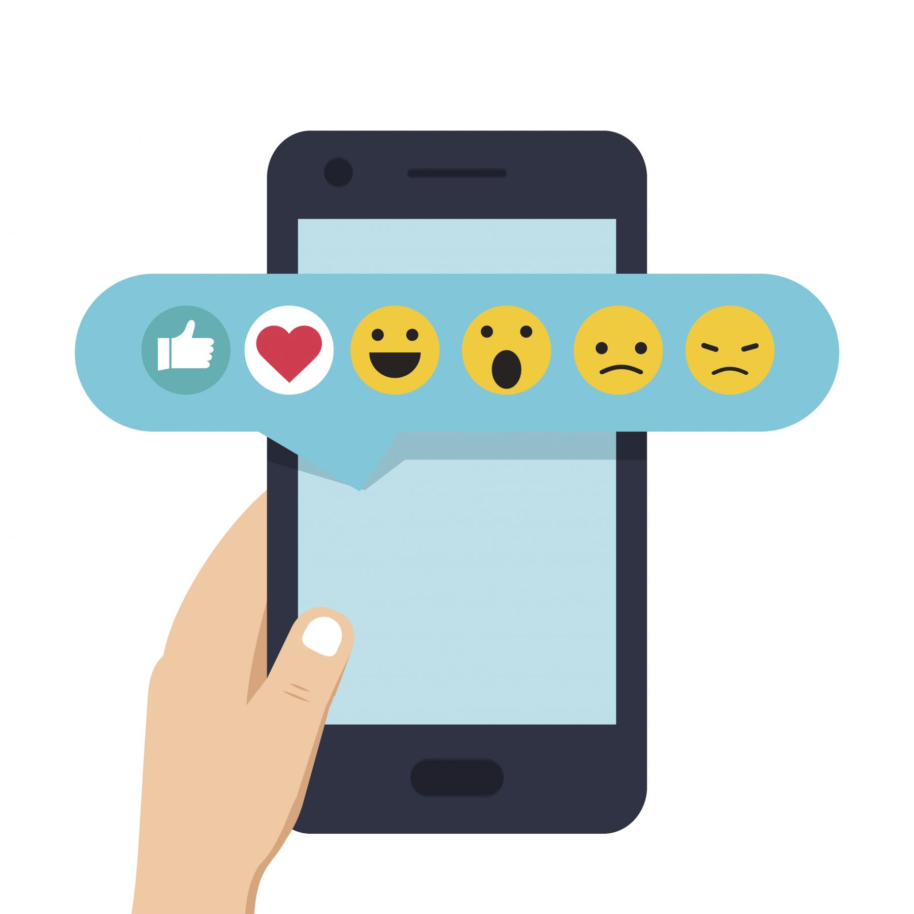 Human hand holding mobile phone with social network feedback emoticons : thumbs up, like, smile, angry, on screen.