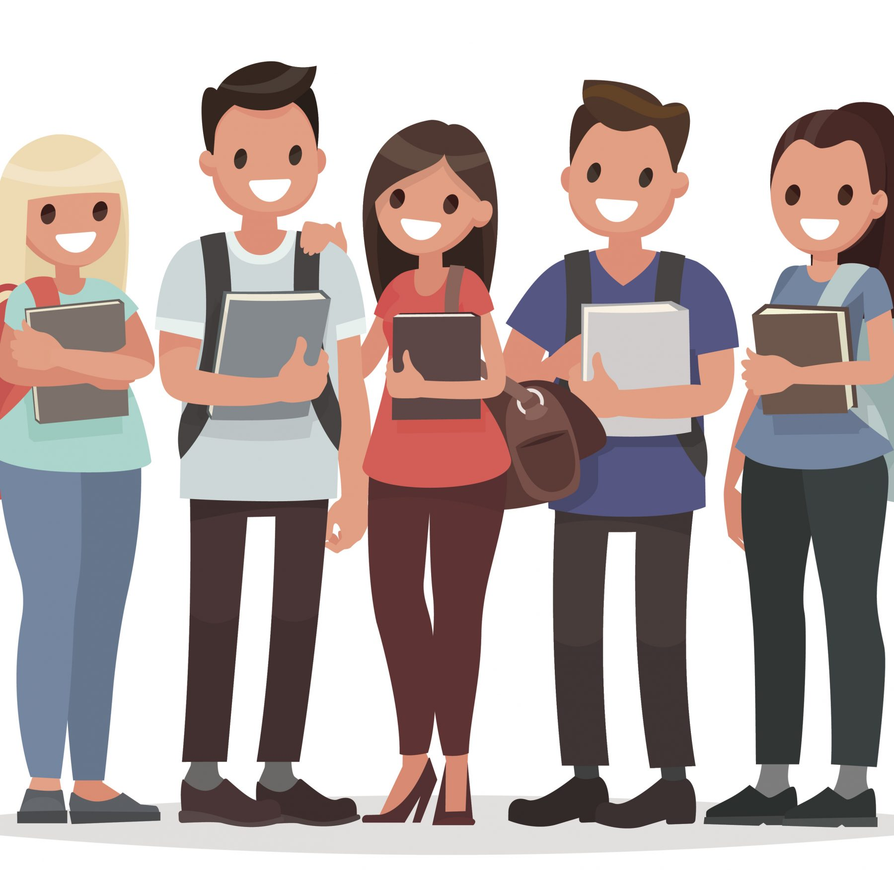 People and Education. Group of happy students with books on an isolated background. Vector illustration in a flat style